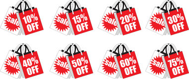 Red Retail Discount Shopping Bags Royalty Free Stock Photos