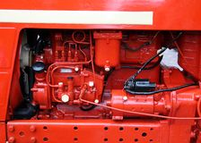 Red retro. Red vintage tractor engine, close-up Stock Image