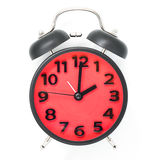 Red retro Alarm Clock isolated on white Royalty Free Stock Image
