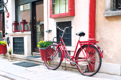 Red retro bicycle. Outdoors. Stock Photo