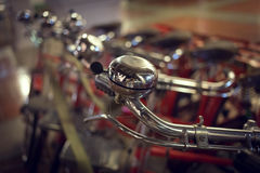 Red retro bicycle on street, abstract blur image Stock Images