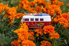 Red retro bus. royalty free stock photography