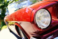 Red retro car. Fragment of red retro car stock photography