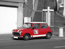 Red Retro Car - Black and White Photography Royalty Free Stock Photos