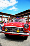 Red retro car. On celebrating for firefighters of Saint-Petersburg Royalty Free Stock Image