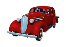 Red Retro Car. 3d digital render of a red retro car isolated on white background vector illustration