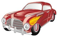 Red old car and fire on a white background. Red retro car with fire on cabin Stock Image