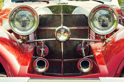 Red retro car. Front view of red retro car Royalty Free Stock Image