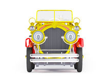 1910 red retro car front. 1910 red retro car on a white background in steampunk style Stock Photo
