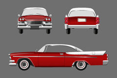 Red retro car on gray background. Vintage cabriolet in a realistic style. Front, side and back view. Royalty Free Stock Photos