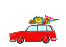 Red retro car with luggage. Hand drawn, digitally colored Royalty Free Stock Image