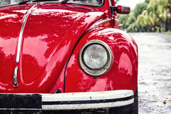 Red retro car. On the street royalty free stock image