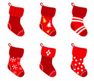 Red retro Christmas Socks collection. Stock Image