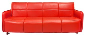 Red retro couch. On white Royalty Free Stock Photo