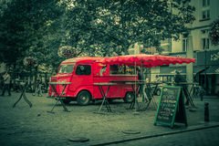Red retro fast food truck. Brussels. Restaurants, bars and coffee shops. Red retro fast food truck in the Europe. retro antique photo. Brussles, Belgium royalty free stock photos