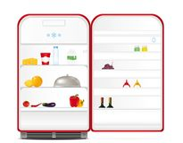Red retro fridge with food and drinks Royalty Free Stock Image