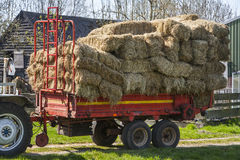 Red retro hay wagon Royalty Free Stock Photography