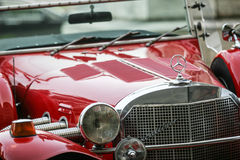Red retro mercedes Stock Photography