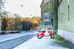 Red retro motorcycle scooter Royalty Free Stock Image