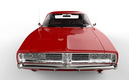Red retro muscle car. Closeup on the hood of the car Royalty Free Stock Photo