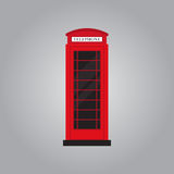 Red retro phone booth flat design vector illustration Royalty Free Stock Photography