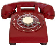 Red Retro Phone, Hotline, Isolated. Old red vintage retro rotary phone. The red phone is a hotline for an emergency call. Can be used for sales, business, and Stock Images