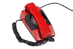 Red retro phone isolated on a white Stock Image
