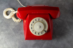 Red retro phone Stock Photo