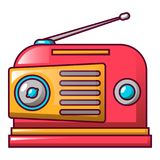 Red retro radio icon, cartoon style Royalty Free Illustration
