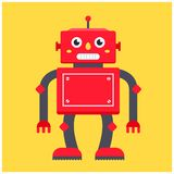 Red retro robot on a yellow background. royalty free illustration