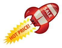 Red retro rocket. Sale symbol on red retro rocket ship Stock Images
