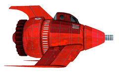 Red Retro Rocket. Old fashion vintage spaceship illustration done in the old comic book or movie style. Isolated illustration clip art or cutout on clean white Stock Photos