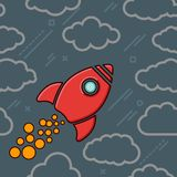 Red retro rocket icon with clouds on a grey blue cosmos backgrou Stock Photo