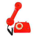 Red retro rotary phone Stock Photography