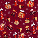 Red retro seamless gift pattern. Background with different bright gifts Stock Images
