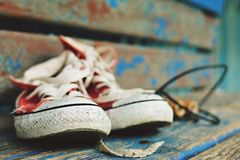 Red retro sneakers Royalty Free Stock Photography