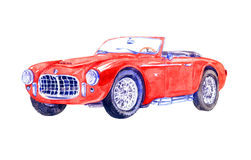 Red retro sport car. Hand Painted Watercolor Illustration  Red retro sport car Stock Images