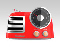 Red retro style radio. Isolated on gradient background Royalty Free Stock Images