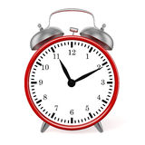 Red retro styled classic alarm clock isolated Royalty Free Stock Photos