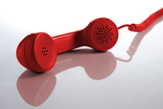 Red retro telehone tube Royalty Free Stock Photos