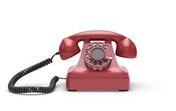 Red retro telephone with clipping path. Red retro telephone isolated on white. 3D rendering with clipping path vector illustration