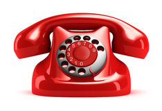 Red retro telephone, front view. Stock Images