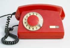 Red retro telephone Royalty Free Stock Photography