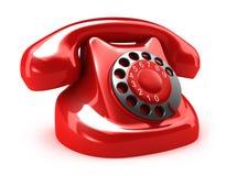 Red retro telephone, on white. My own design Stock Photos