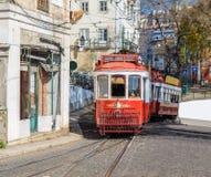 Red retro tram in Lisbon. Royalty Free Stock Photo