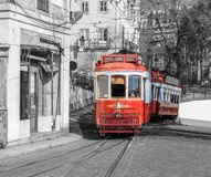 Red retro tram in Lisbon. Stock Photography