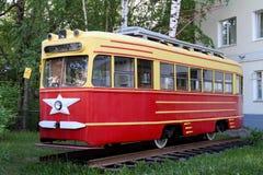 Red Retro tram Stock Photo