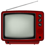 Red Retro TV. Illustration of Old Television Isolated on White Background stock illustration