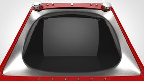 Red retro TV set - extreme closeup shot. On white background Royalty Free Stock Photos