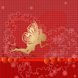Red retro valentine fairy Royalty Free Stock Image